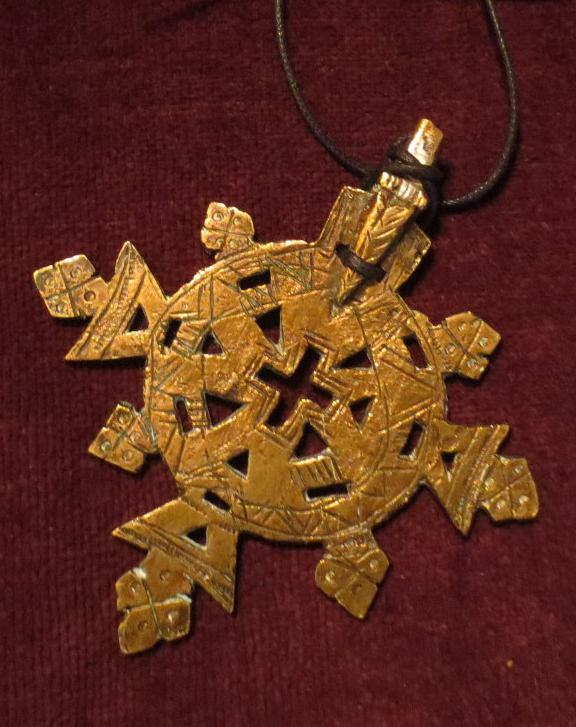 Vintage Cross Pendant Huge Aged Brass Amulet Choker