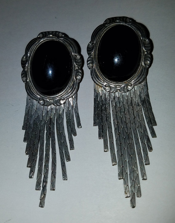 Vintage Gothic Victorian Black Silver Long Cameo Earrings 3 inches
