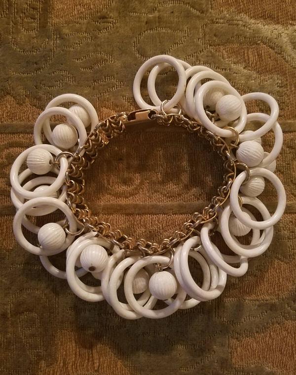 Vintage 1960's Napier Gold White Ringlets Bracelet, MOD Retro