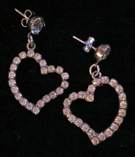 Vintage Rhinestone Heart Earrings Pierced Post Dangle