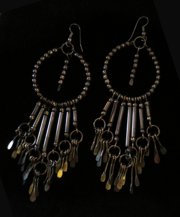 "Gypsy Boho Earrings Very Long 5"" Aged Silver Beaded Duster"