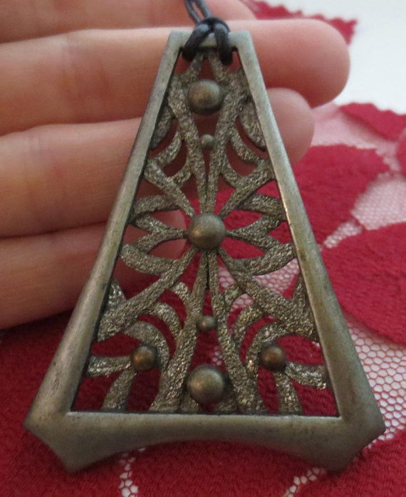 Vintage 1960's Pewter Pyramid Pendant Necklace, Hippie Jewelry
