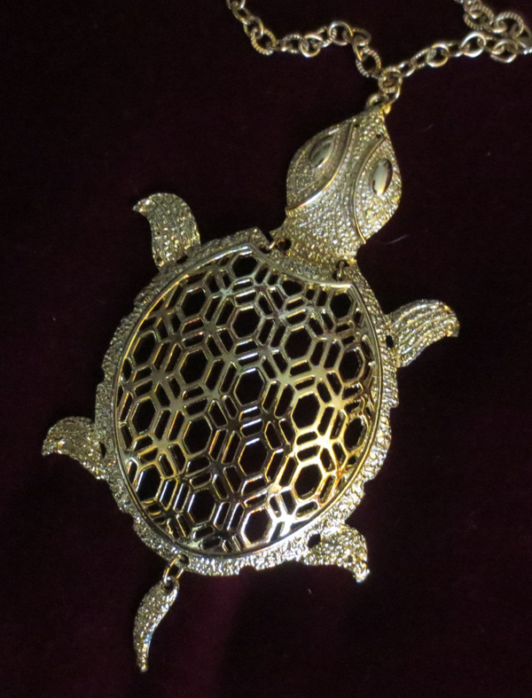 Vintage 1960's Articulated Large Turtle Pendant on Gold Chain