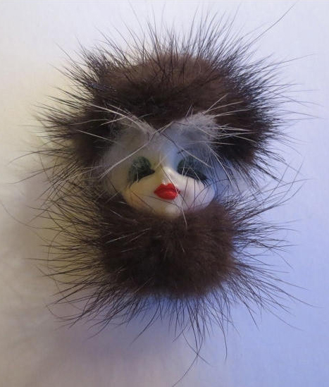 Vintage Porcelain Lady Woman Face, Fox Fur Hat and Stole Pin Brooch, Pin-Up Diva