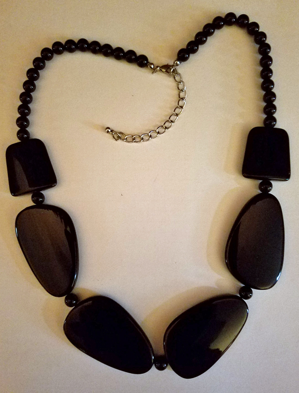 Vintage Black Flat Discs Beaded Choker Necklace