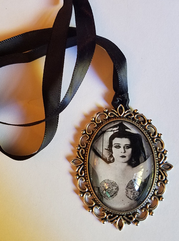 Theda Bara Necklace Cameo Pendant, Silent Film Actress Erotica