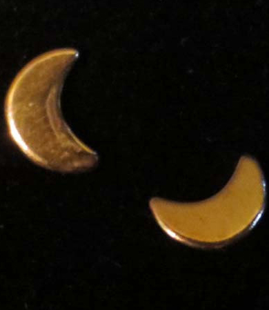 Vintage Tiny Gold Crescent Moon Earrings Pierced Post Stud