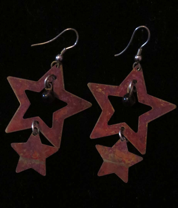 5 Pointed Star Earrings Long Rustic Gypsy Boho Pagan