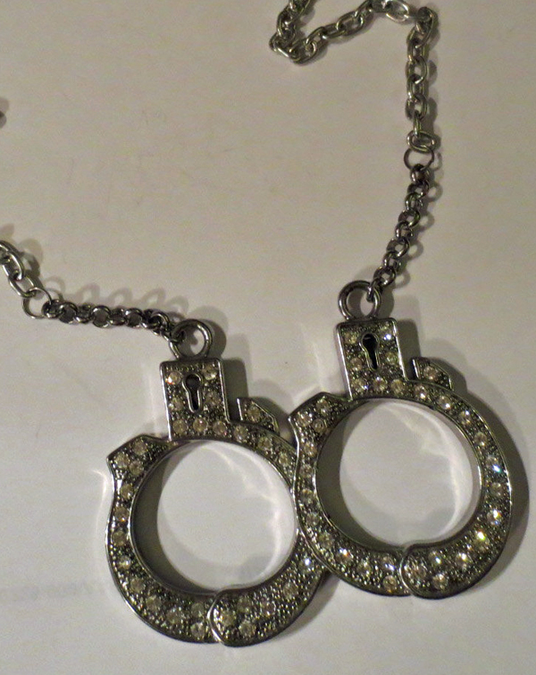 Silver Handcuffs Necklace BDSM Slave Fetish Huge Rhinestone