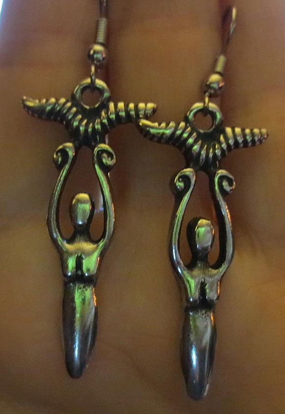 Victory Goddess Powerful Horns Earrings Wiccan Pagan