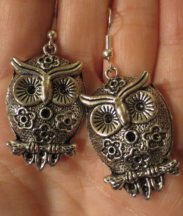 Large Retro Owl Earrings, French Hooks Silver Tone, Hippie Gypsy