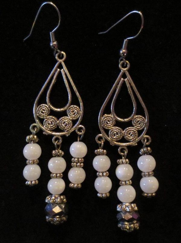 "Silver Snow Quartz Earrings 3"" Dangle White Beaded Handmade"