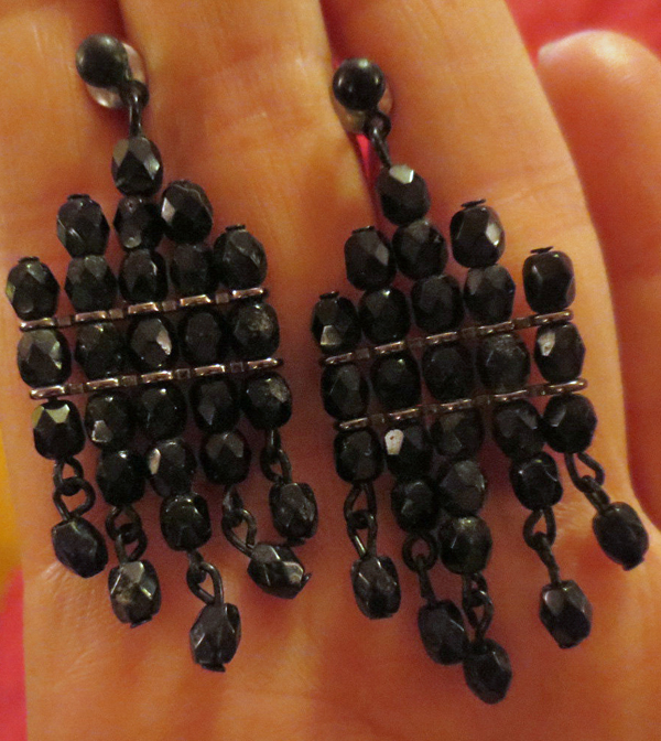 Victorian Jet Black Beaded Woven Beads Earrings Gothic