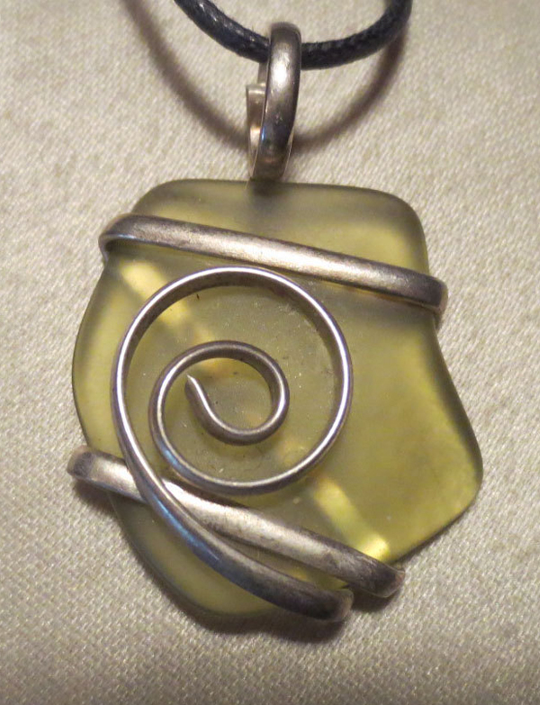Wrapped Green Sea Glass Silver Pendant Beach Jewelry