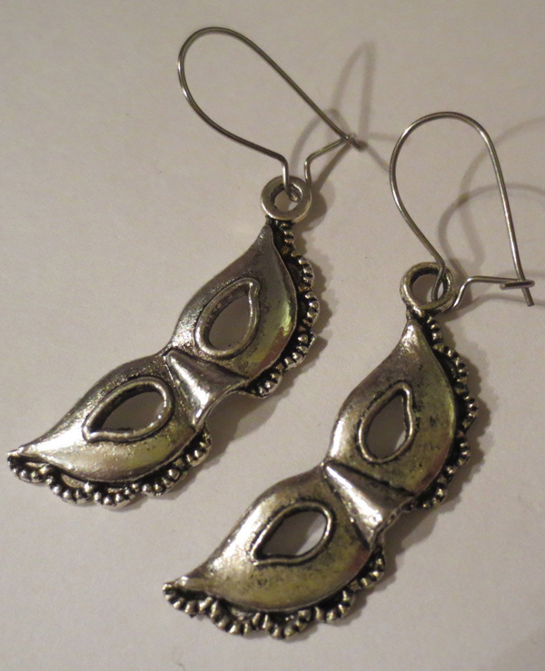 Aged Silver Mask Earrings Fetish Costume Masquerade Ball
