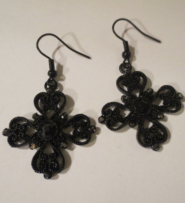 Gothic Black Cross Earrings Jewel Dangle Steampunk