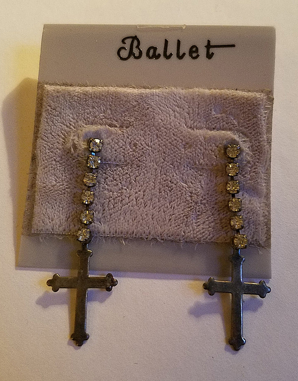 Vintage Rhinestone Cross Dangling Earrings, Goth Punk