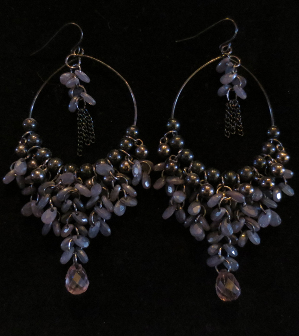 "Very Long 3.75"" Slate Blue Beaded Earrings Gypsy Boho Hippie"