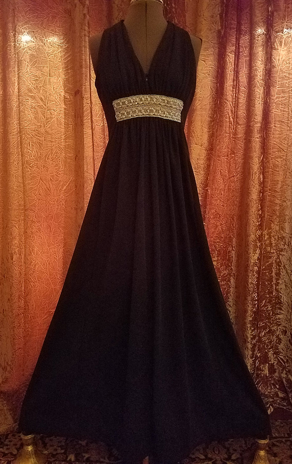 Vintage 1960's Black Formal Gown Sleeveless Silver Brocade Dress Medium