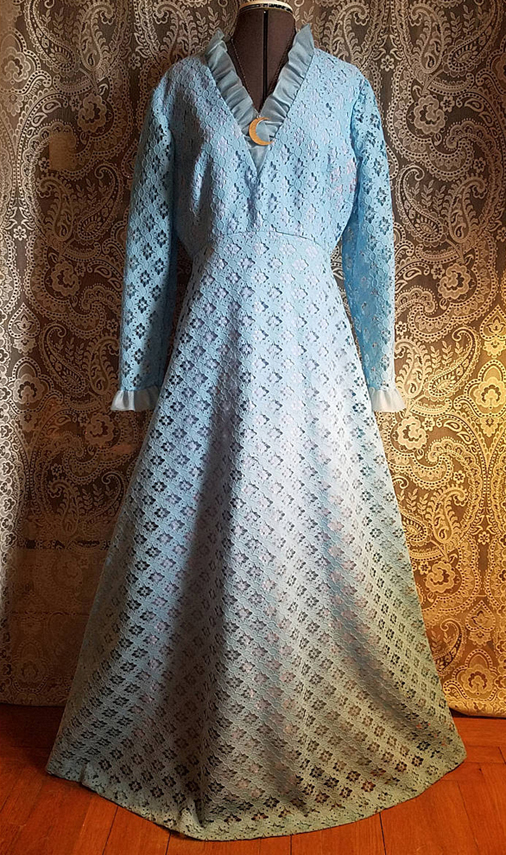Vintage 1960's Powder Blue Hostess Dress Gown, Lace Floor Length, Size Large, Liz Berg for Bernie Bee NY