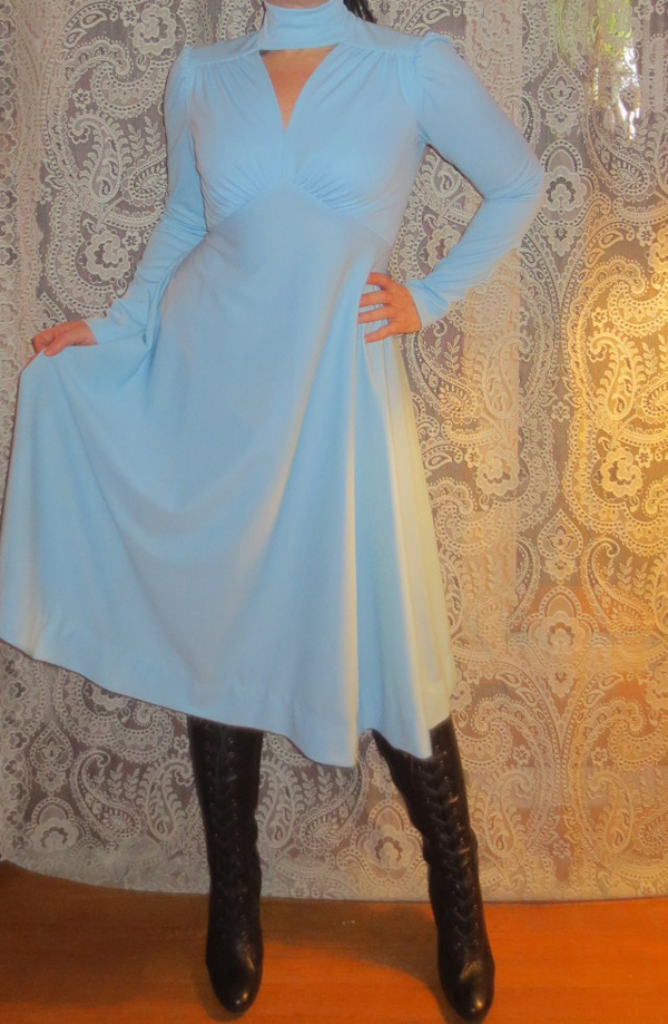 Vintage 1960's Powder Blue Dress, High Neck, Long Sleeves, Sexy Small Medium