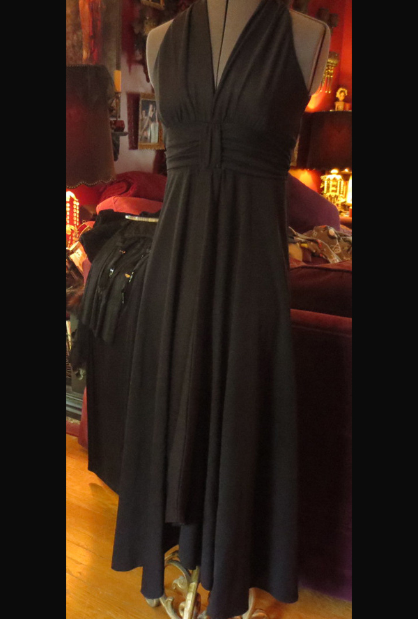 Vintage 1970's Sexy Long Black Dress Sleeveless Maxi Small