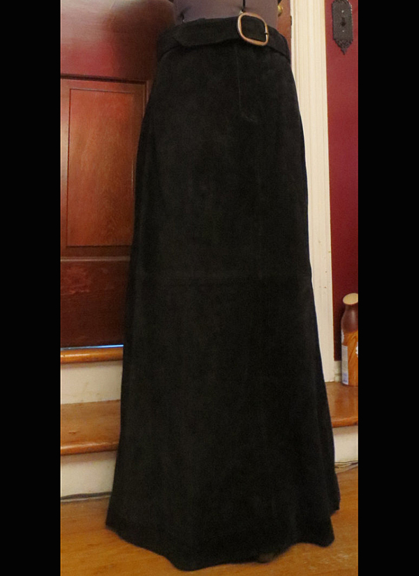 Vintage Black Suede Skirt Genuine Leather Long w/Belt Size 4