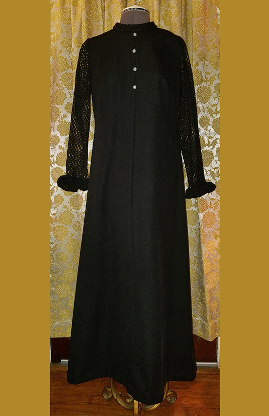 Vintage 1960's Black Hostess Dress Maxi Rhinestones Large