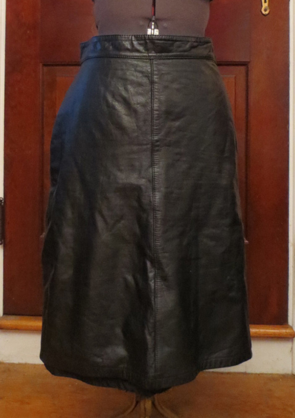 "Vintage Black Leather Pencil Skirt 9/10 Medium 27.5"" waist Fetish"