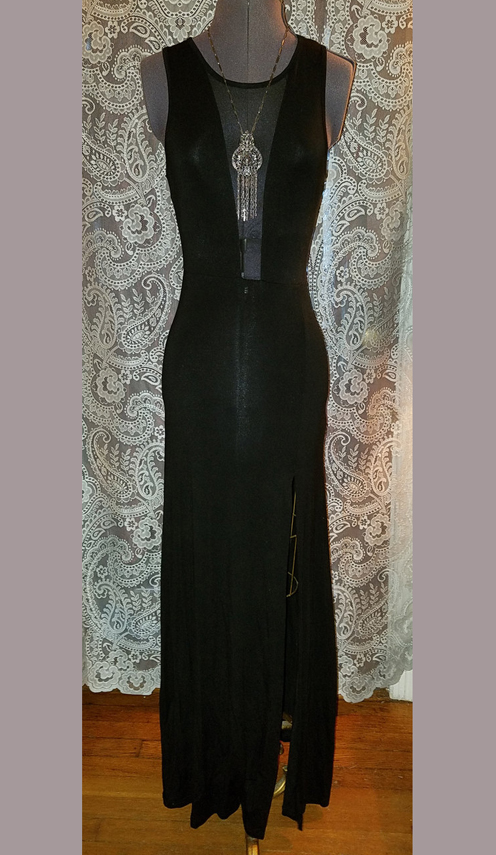 Floor Length Sexy Black Peekaboo Dress w/Sheer Panels Small