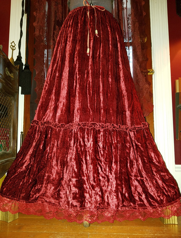 Long Deep Red Velvet Broom Skirt Flowy, Small Medium Witchy Gothic