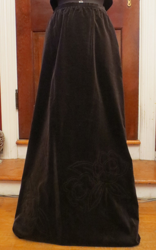 Vintage 1970's Brown Velvet Skirt Floor Length Medium Union Label