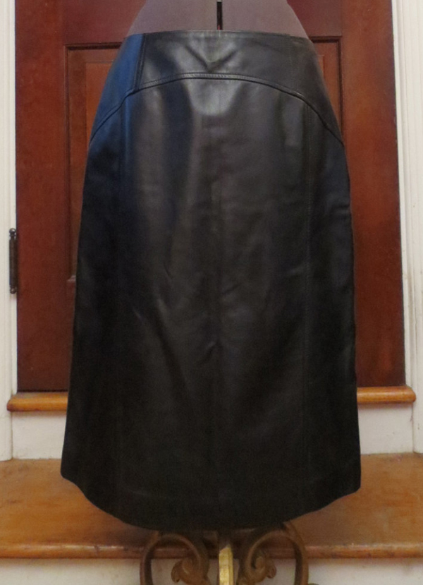 "Soft Black Leather Pencil Skirt Sz 8 Med/Large 29"" waist Fetish"