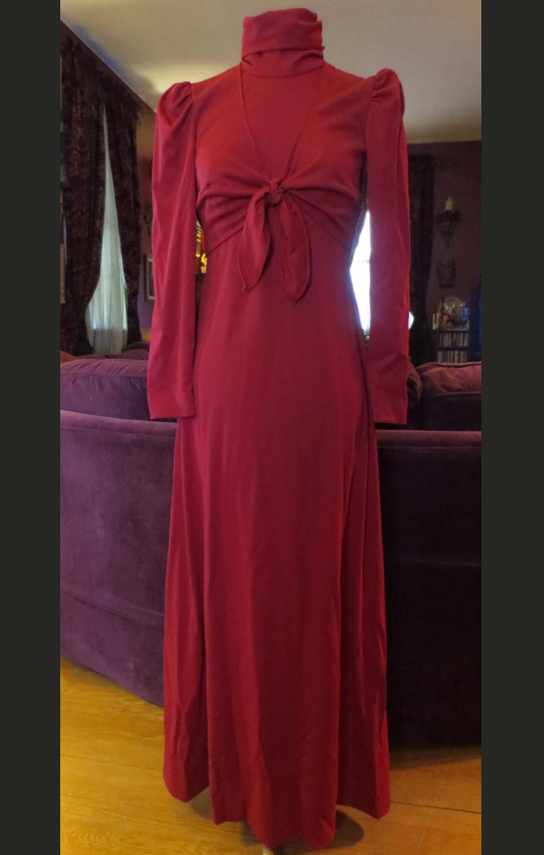 Vintage 1960's Burgundy Dress Goddess Gown with Matching Shrug Small