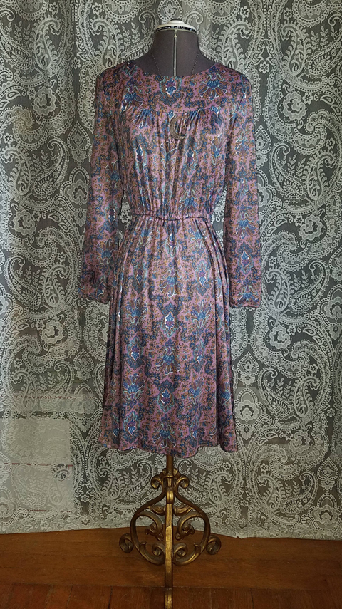 Vintage 1970's Lavender Purple Floral Hippie Dress, Small Medium