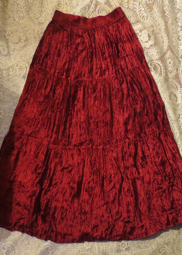 Long Deep Red Velvet Broom Skirt Flowy, Size Small Witchy Gothic