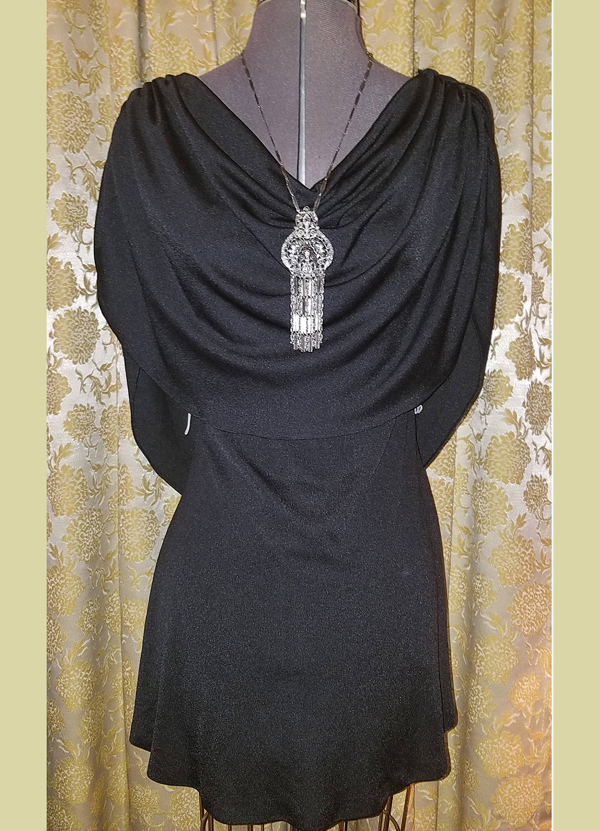 Vintage 1970's Black Backless, Draping Neckline Disco Dress, Above Knee, Small Witchy Goth