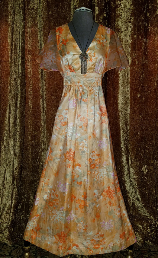 Vintage 1970's Tea Party Dress Orange Flowers Small Medium