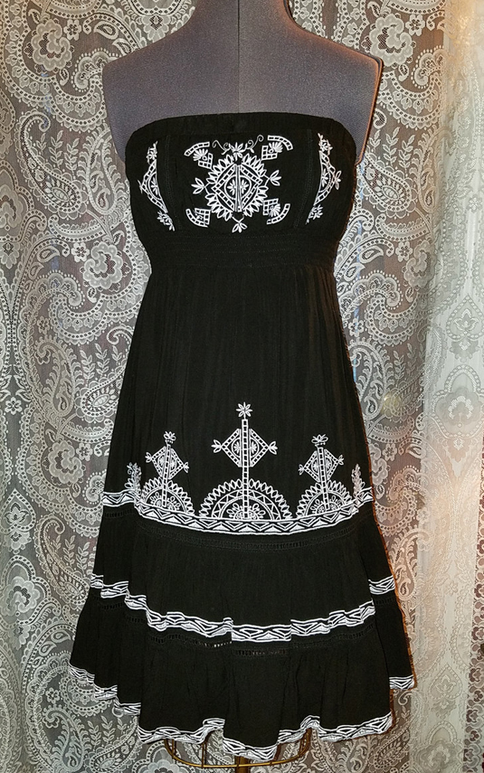 Black and White Strapless Dress Bohemian Gypsy Witchy S/M