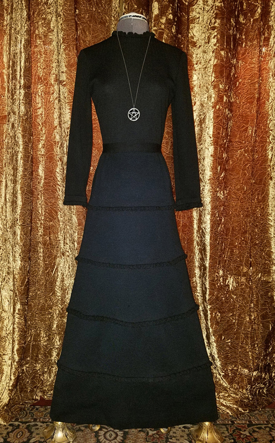 Vintage 1960's Black Witchy Maxi Dress, Johnathan Logan XS Small