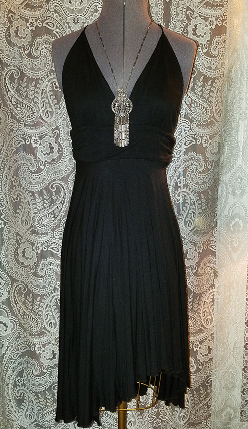 Black Marilyn Monroe Inspired Dress Plunging Neckline Small