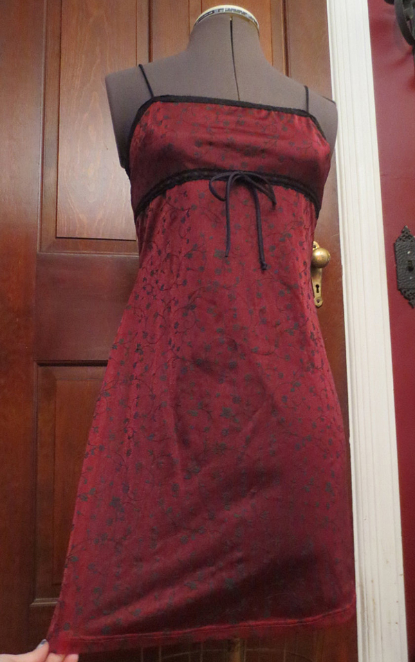 Vintage Slip Style Dress Small Gothic Sexy Burgundy Black