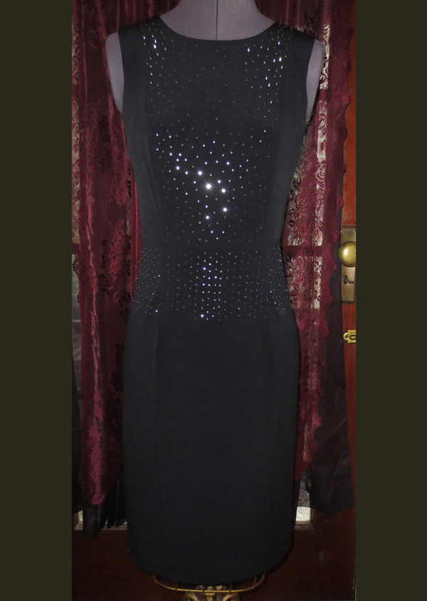 Sexy Black Fitted Cocktail Dress w/Rhinestones Size 2