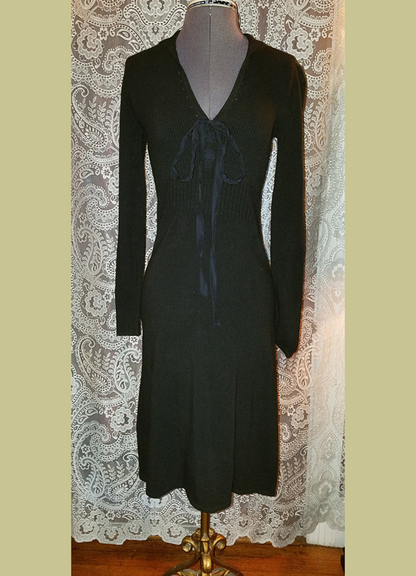 Black Tie Neckline Dress Gothic Witchy Small Medium