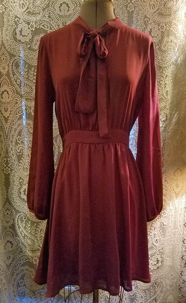Vintage Dark Burgundy Tie Neck Secretary Dress Small