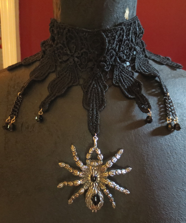 Gothic Victorian Handmade Black Crochet Spider Choker