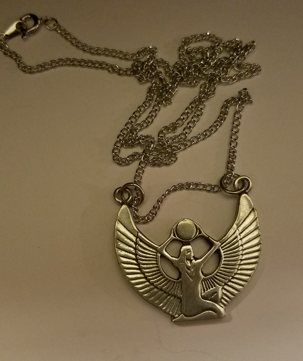 Winged Goddess Isis Egyptian Pendant Necklace, Lead Free Pewter