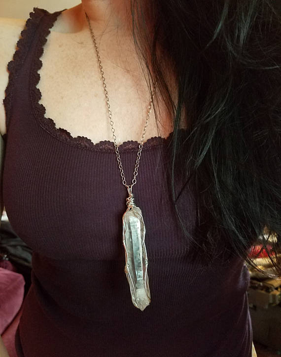 Large Sterling Silver Wrapped Quartz Crystal Pendant, 3 inches