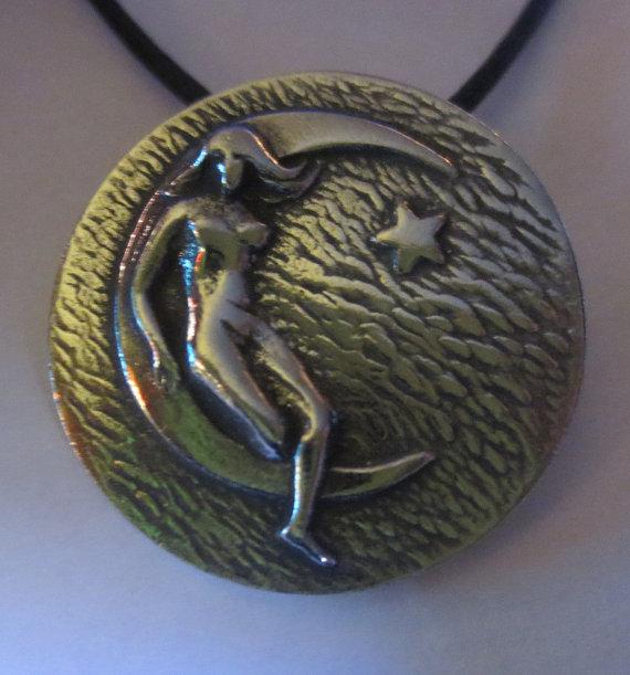 Moon Goddess Pendant Luna Pagan Waning Crescent Amulet