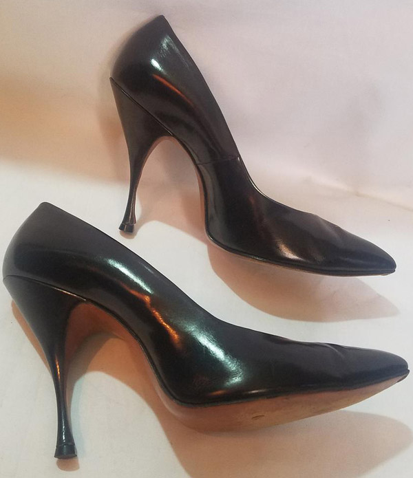 Vintage RARE 1950's Mandel's Skyscrapers Fetish High Heels, Black Leather